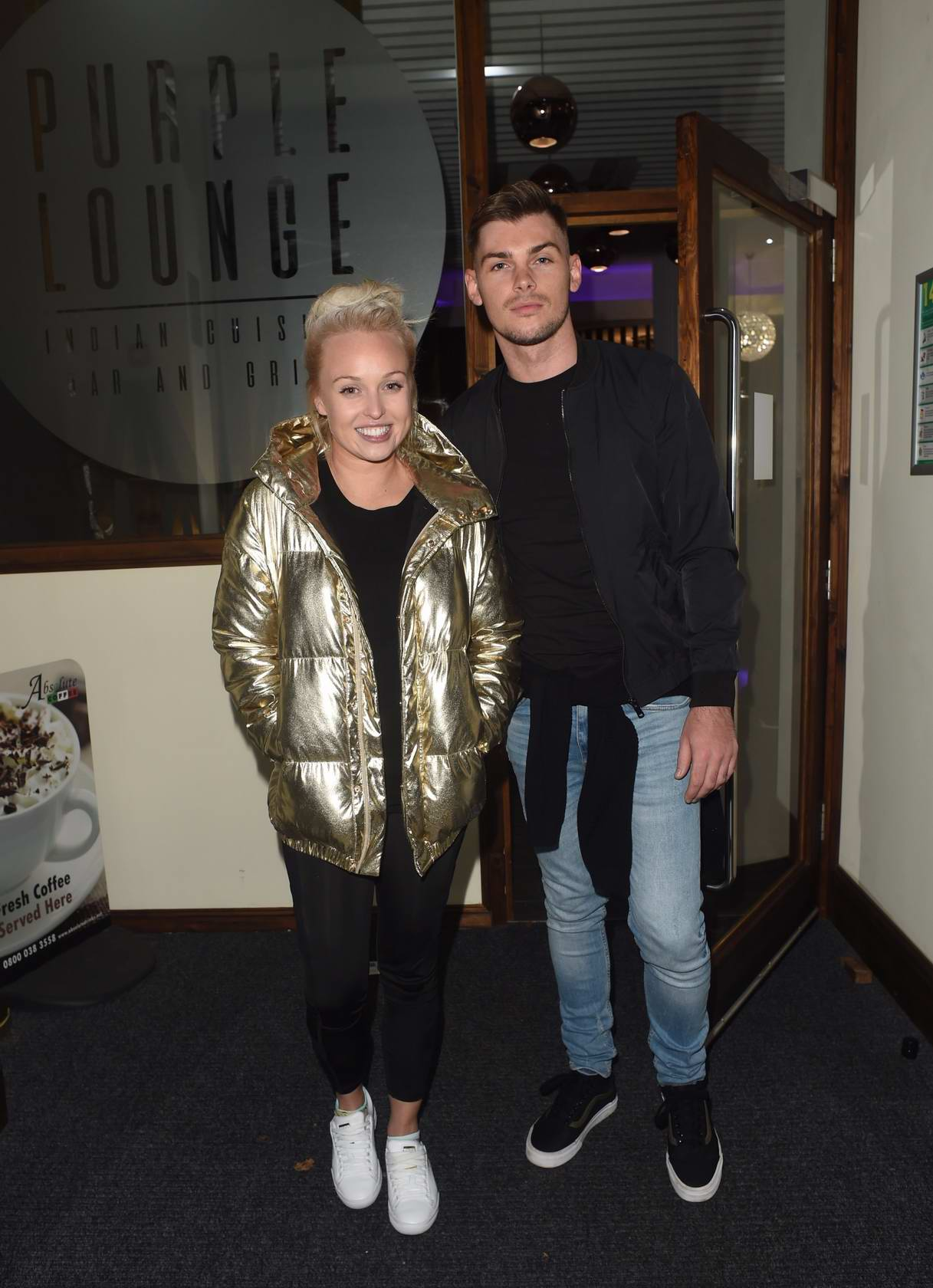 Jorgie Porter and Kieron Richardson seen leaving the Purple Lounge Indian Restaurant in Walkden near Manchester, UK