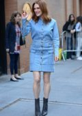 Julianne Moore in an all denim dress arrives at The View in New York City