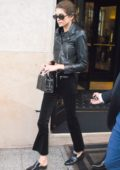 Kaia Gerber is seen in an all black outfit in leaving her hotel in Paris, France