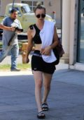Kaley Cuoco in shorts leaving her yoga class in Los Angeles