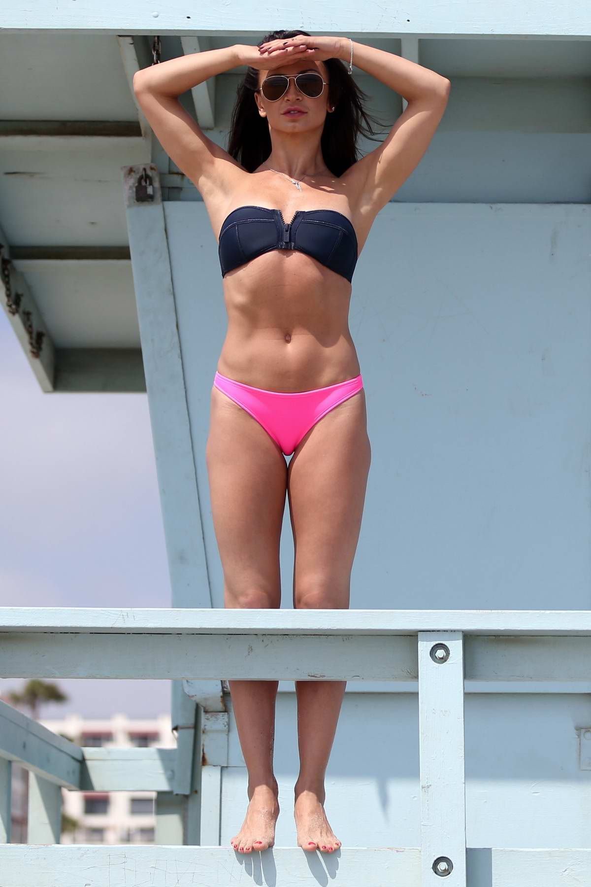 Karina Smirnoff in a bikini channels her inner Baywatch during the recent la fall heatwave in Santa Monica, California