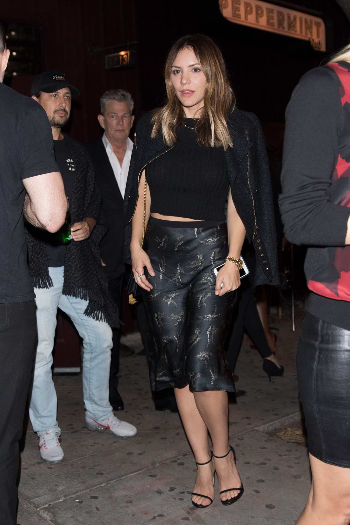 Katharine McPhee and David Foster leaves The Peppermint Club together after attending a fundraiser in West Hollywood, Los Angeles