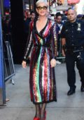 Katy Perry is spotted at 'Good Morning America' in a colorful dress in New York