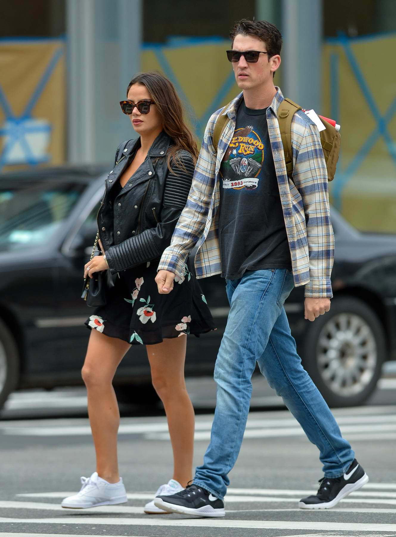Keleigh Sperry and Miles Teller out for a walk in the East Village, New York City
