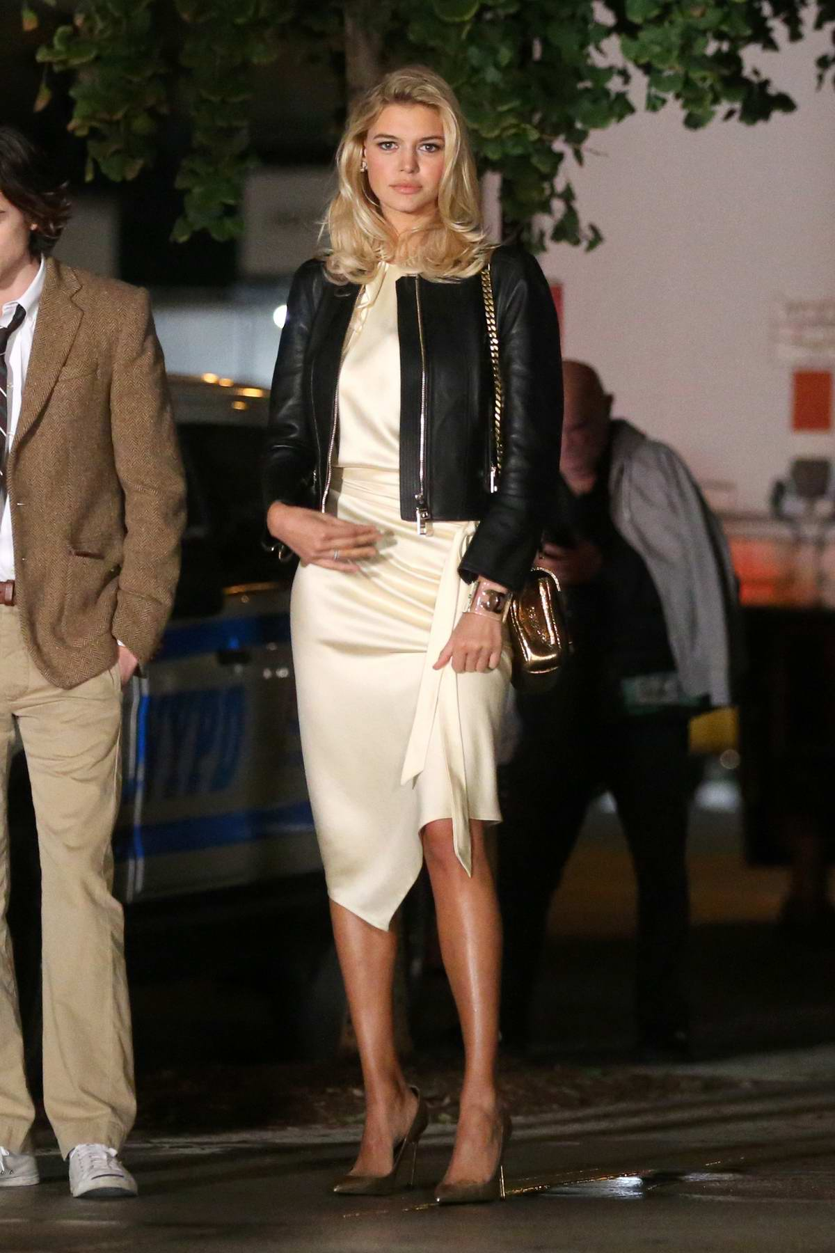 Kelly Rohrbach filming a scene for the untitled Woody Allen movie in Madison Avenue, Manhattan, New York City