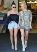 Kim Kardashian and Kourtney Kardashian go shopping at BuyBuy Baby in Calabasas, California