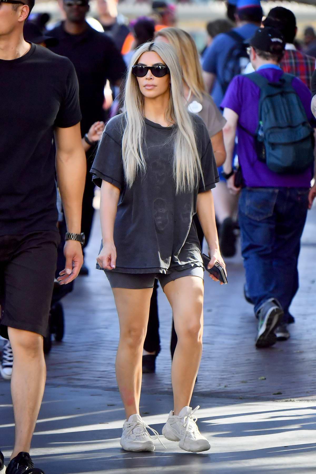 Kim Kardashian celebrates her 37th birthday at Disneyland in Anaheim, California
