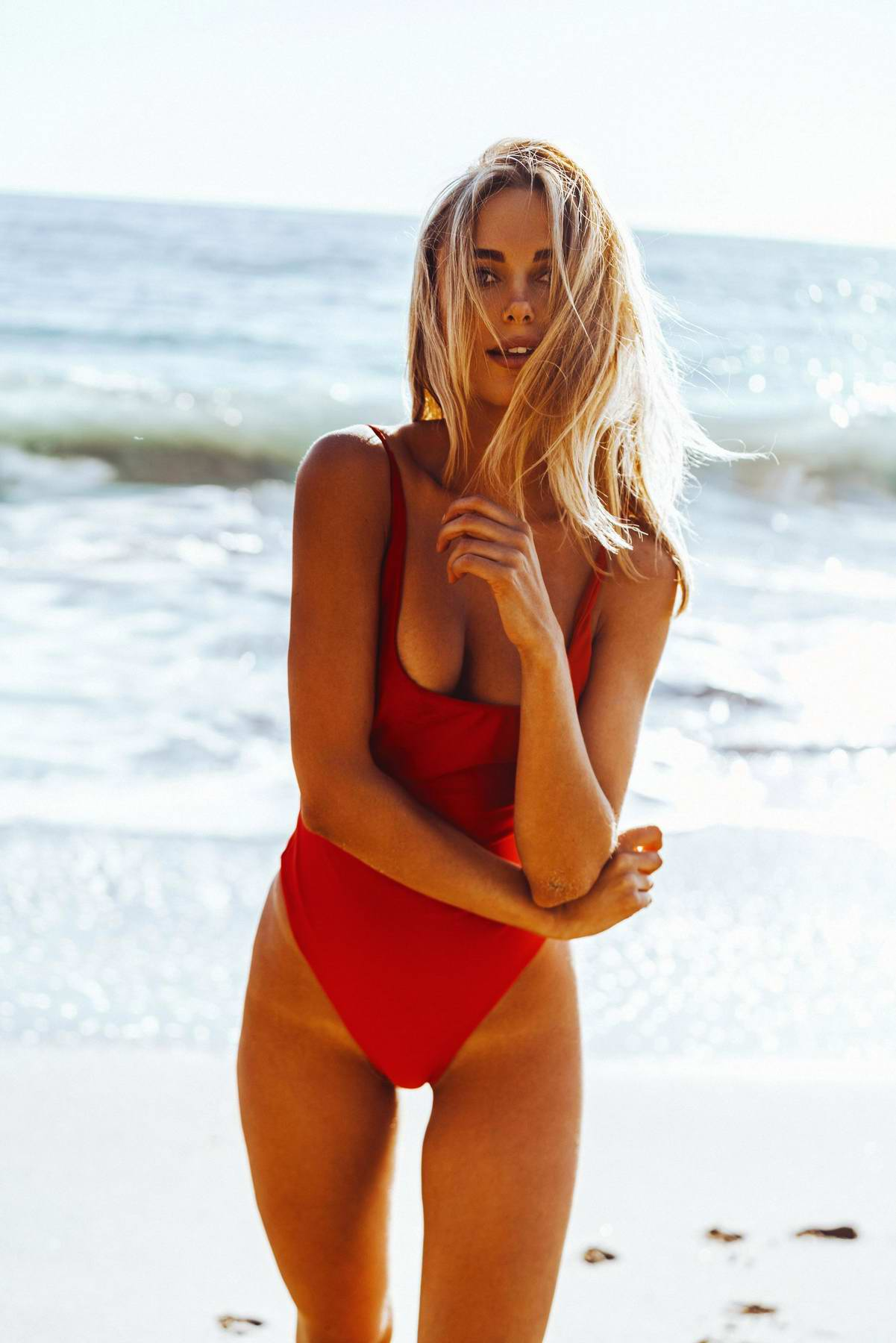 Kimberley Garner in a red swimsuit for a photoshoot in Ibiza, Spain