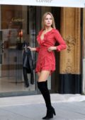 Kimberley Garner in a short red dress looking around the posh shops in Paris, France