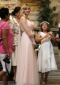 Kirsten Dunst is a bridesmaid at the wedding of her best friend in Rome, Italy