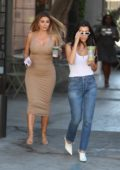 Kourtney Kardashian and Larsa Pippen grab iced matcha from Alfred tea on Melrose Place in West Hollywood, Los Angeles