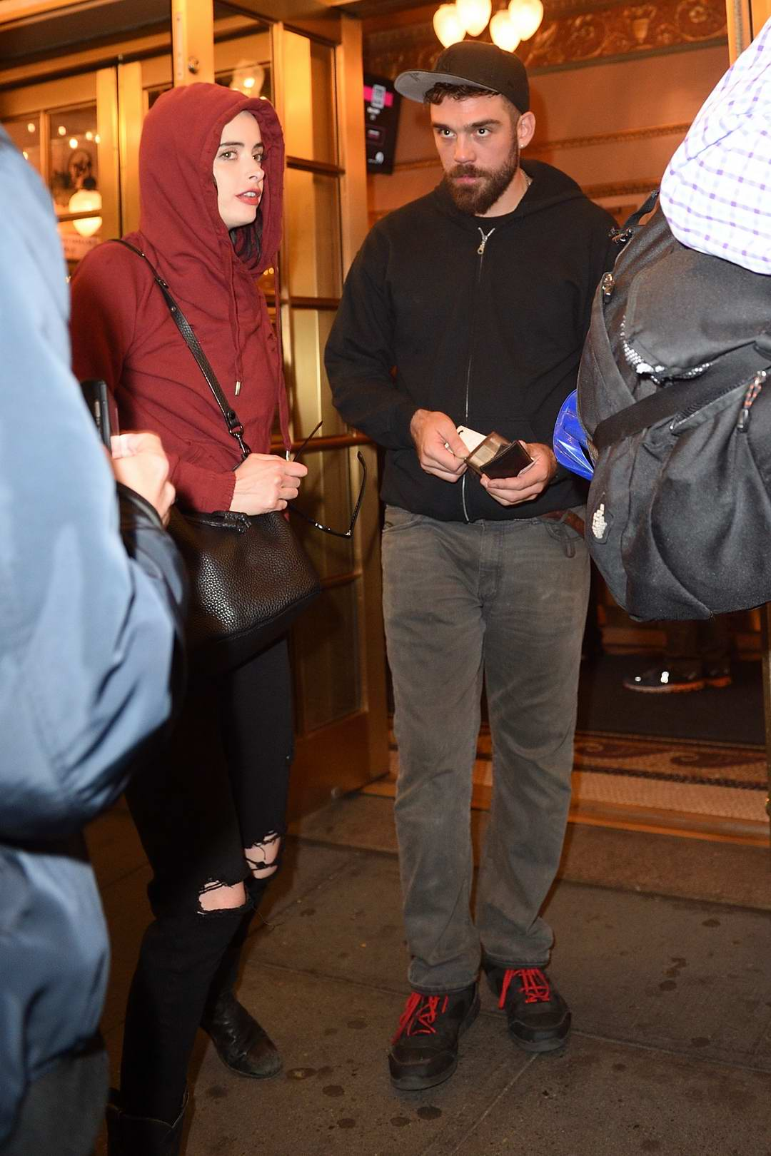 Krysten Ritter with a male companion seen out and about on Broadway, New York City