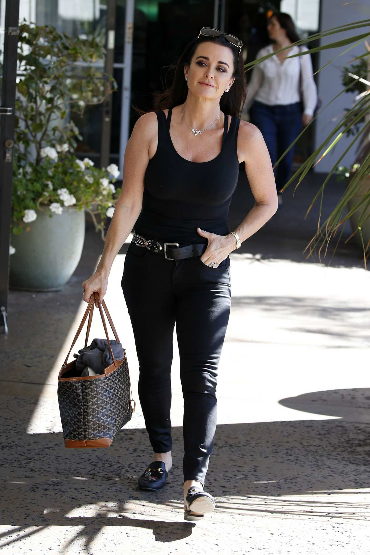 Kyle Richards is seen running errands in Bel-Air, Los Angeles