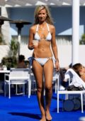 Lady Victoria Hervey in a white bikini lounges poolside at The Standard Hotel in West Hollywood, Los Angeles