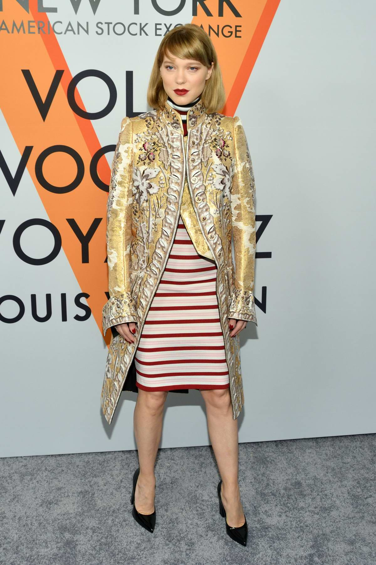 Lea Seydoux at Louis Vuitton 'Volez, Voguez, Voyagez' exhibition opening in New York
