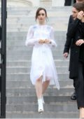 Lily Collins attends Givenchy Show, spring summer 2018 during Paris Fashion Week, France