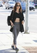 Lily Collins heading back after a morning workout in Beverly Hills, Los Angeles