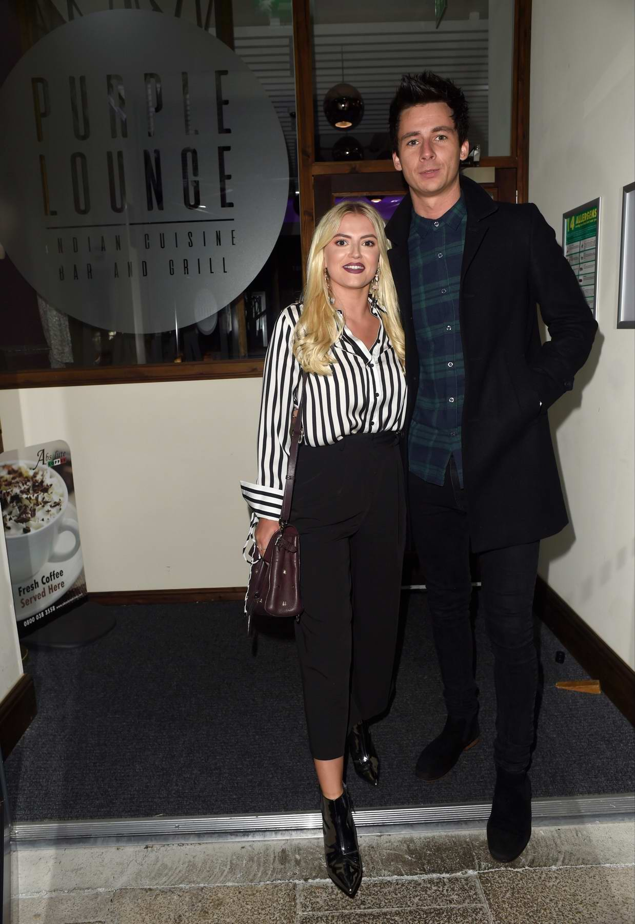 Lucy Fallon enjoy a date night with her boyfriend at the Purple Lounge Indian Restaurant in Walkden, Manchester, UK