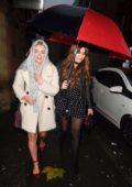 Lucy Fallon leaves The Smokehouse Cellar Bar and Restaurant in Manchester, UK