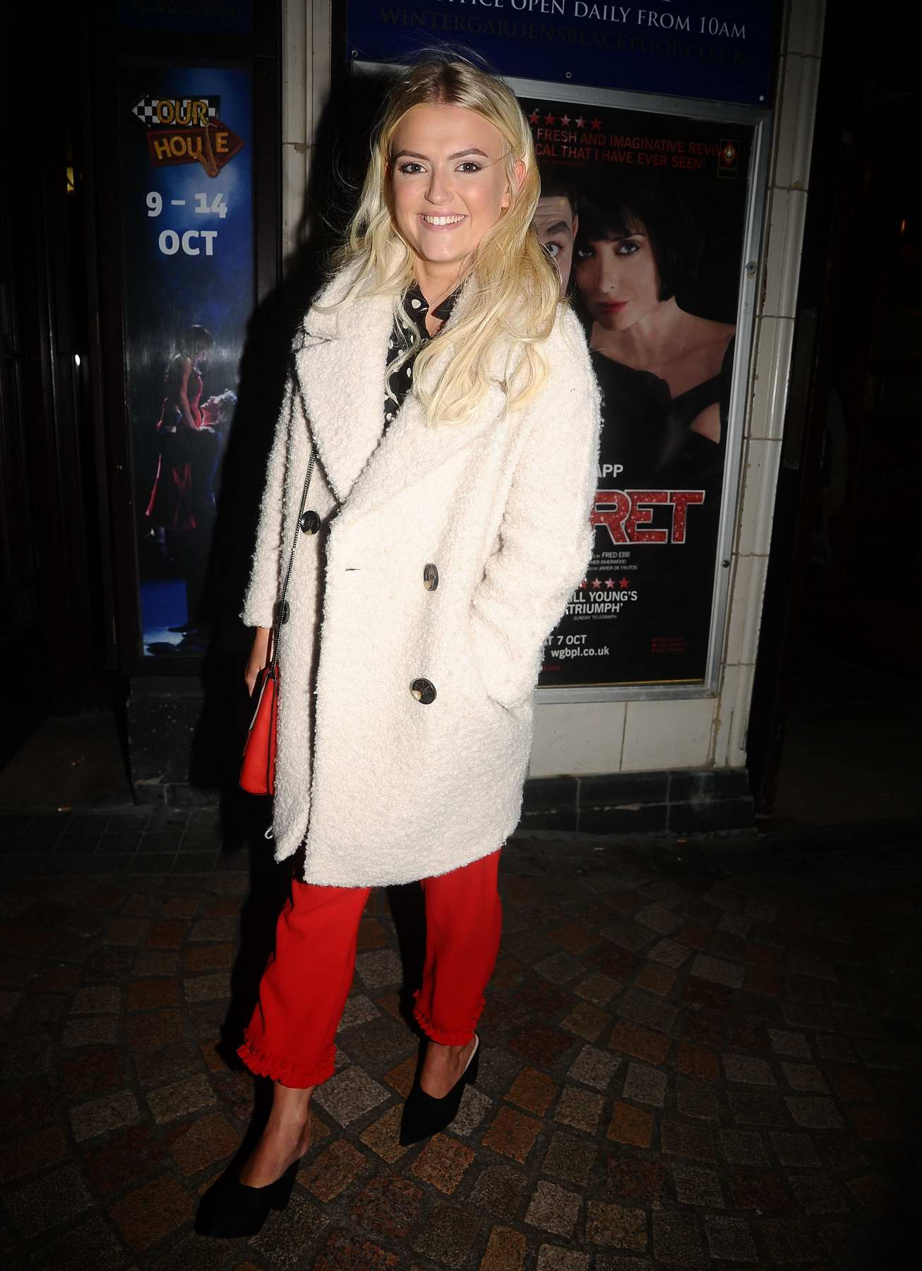 Lucy Fallon leaving the 'Cabaret' musical at the Blackpool Winter Gardens in Blackpool, UK