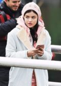 Lucy Hale filming a scene on the set of 'Life Sentence' in Vancouver, Canada