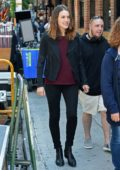 Megan Boone on location of 'The Blacklist' in Greenwich Village in New York City