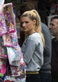Michelle Hunziker spotted at a newspaper stand in Bergamo, Italy
