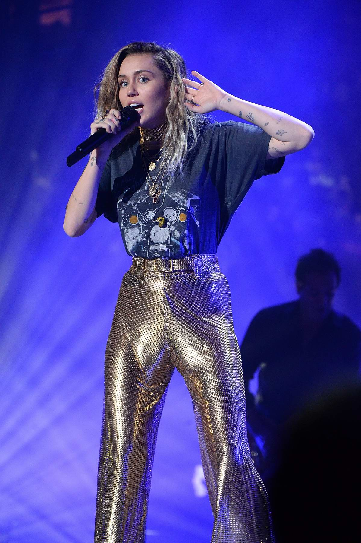 Miley Cyrus performs with Billy Joel at Madison Square Garden in New York