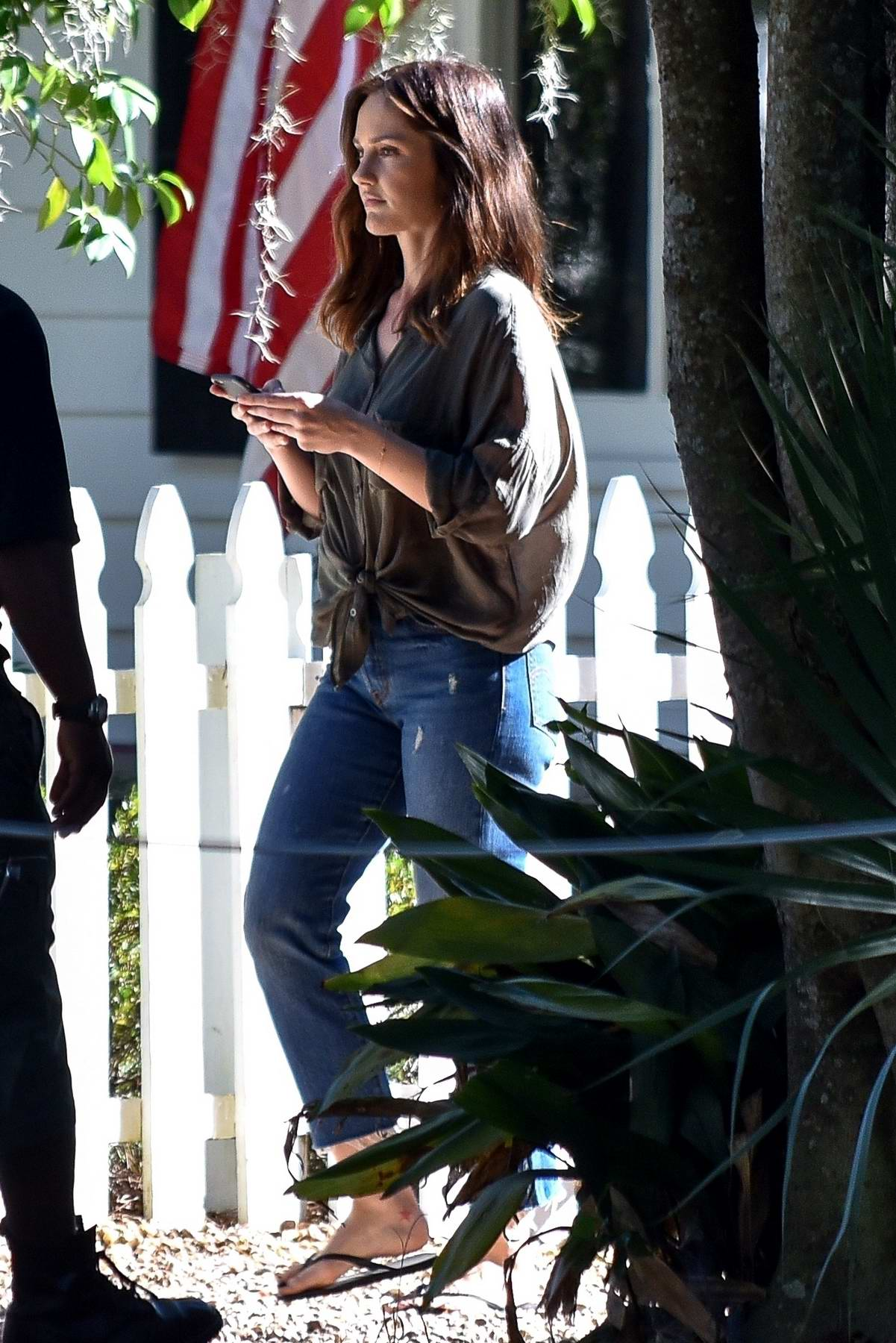 Minka Kelly filming her new Hallmark movie the beach house in Savannah, Georgia