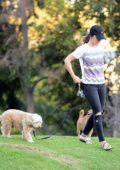 Minka Kelly is spotted playing with her dogs in a park in Los Angeles