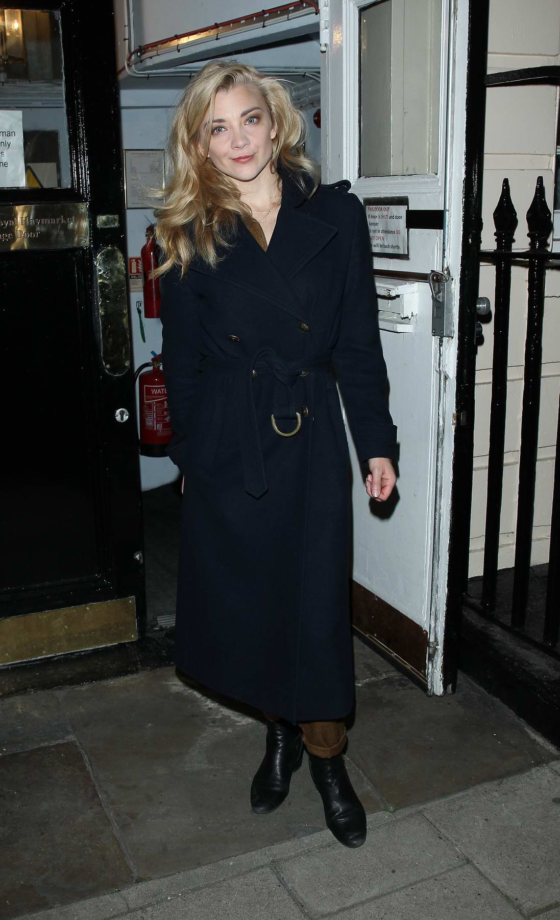 Natalie Dormer leaving after her performance in Venus in Fur at The Theatre Royal in London