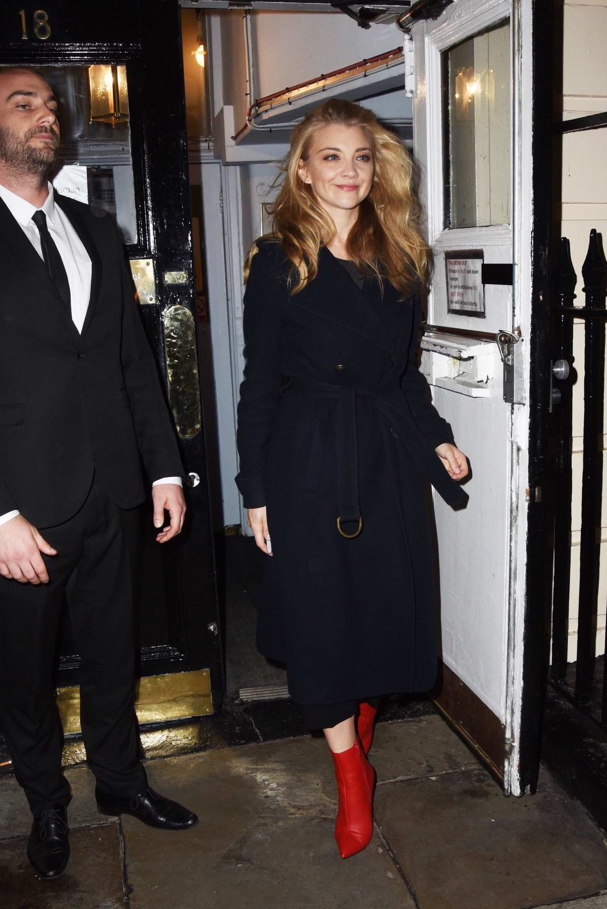 """natalie dormer seen leaving after performing in the play """"Venus in Fur"""" at the Theatre Royal Haymarket in London"""