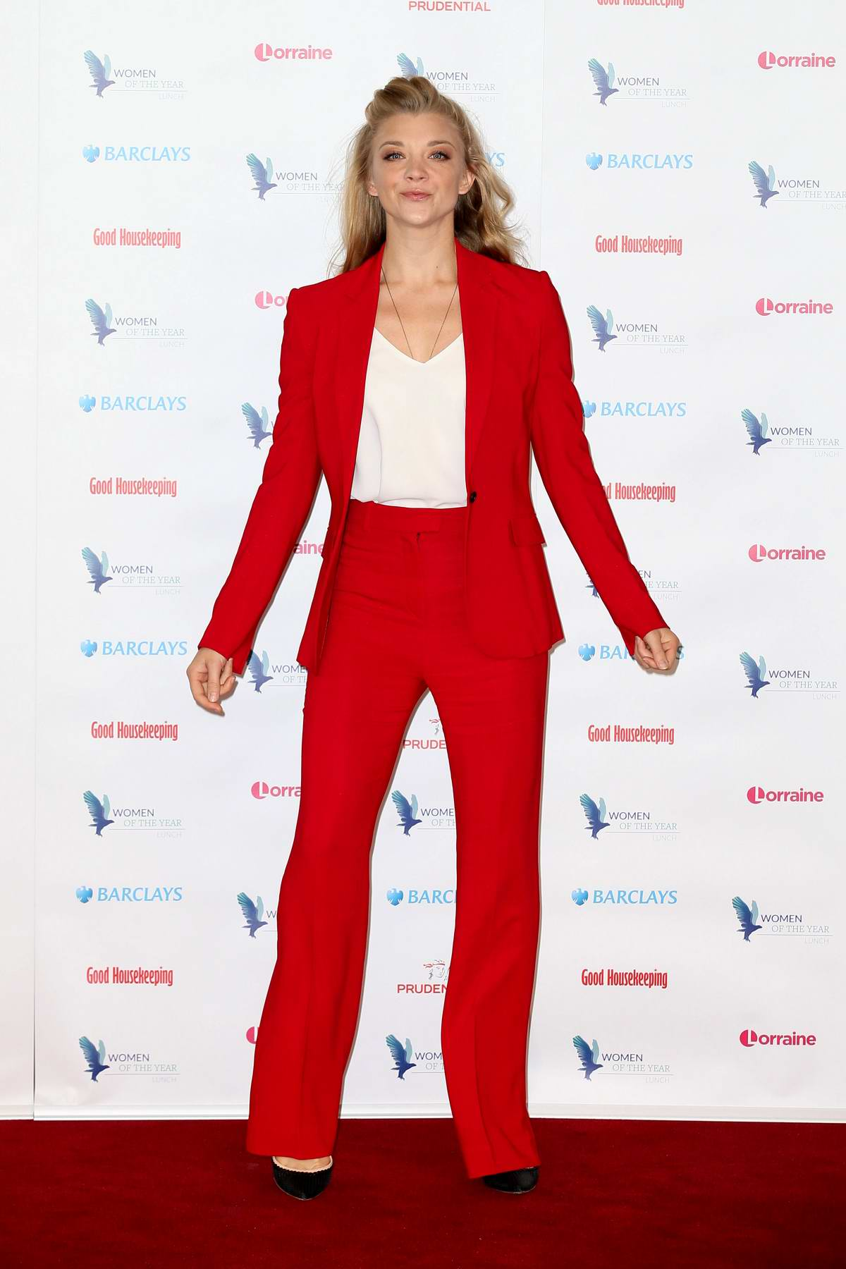 Natalie Dormer wears a red pantsuit at Women of the Year launch in London