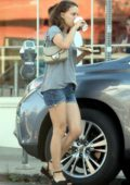 Natalie Portman in denim shorts out with a friend in Los Angeles