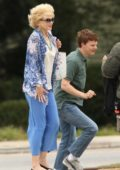 Nicole Kidman filming a scene with Lucas Hedges on the set of 'Boy Erased' in Atlanta, Georgia