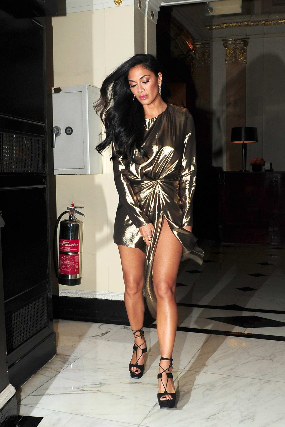 Nicole Scherzinger spotted leaving the Dorchester hotel in London