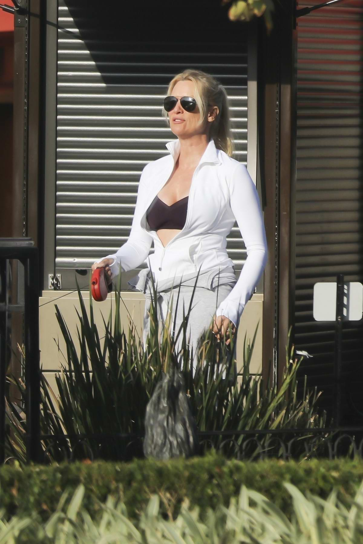 Nicollette Sheridan out for a walk with her dog in Calabasas, California