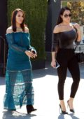 Nikki Bella and Brie Bella on the set of Extra in Universal City, Los Angeles