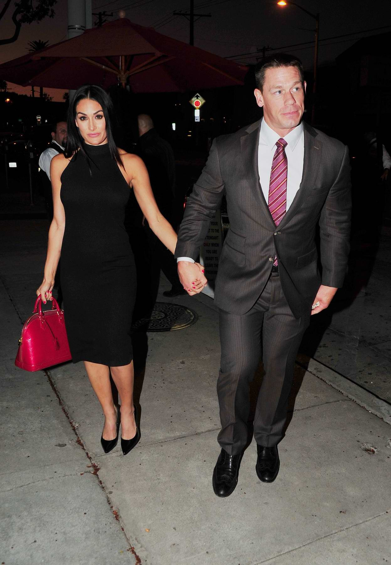 Nikki Bella and John Cena leaving after enjoying dinner at Craig's in West Hollywood, Los Angeles