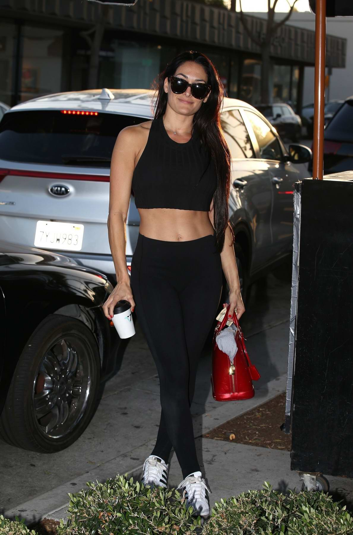 Nikki Bella meets up with dance partner and DWTS co-star Artem Chigvintsev at Verne Coffee in West Hollywood, Los Angeles