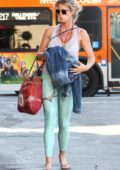 Rachel Hunter wearing green leggings spotted out and about in West Hollywood, Los Angeles