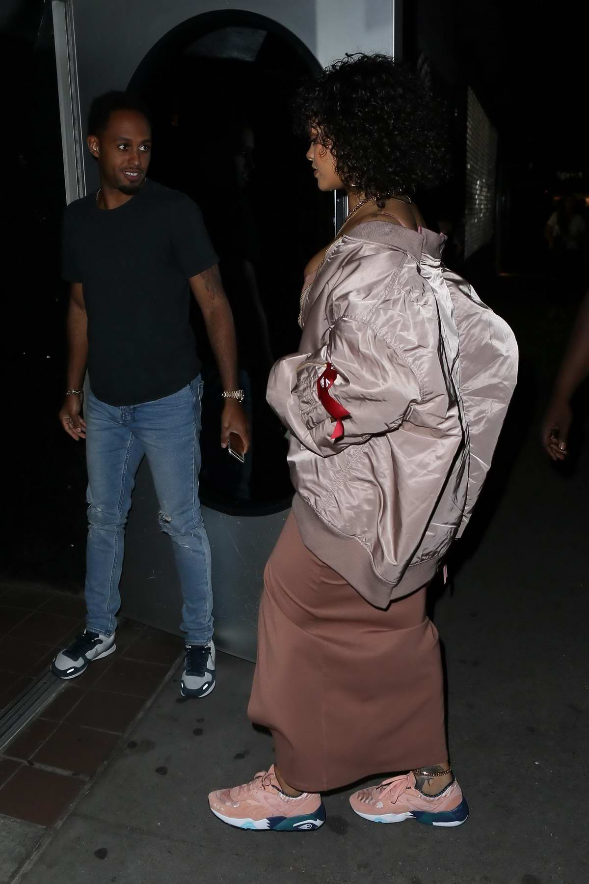 5cc15d5ca rihanna arriving at a studio session wearing a bomber jacket in new ...