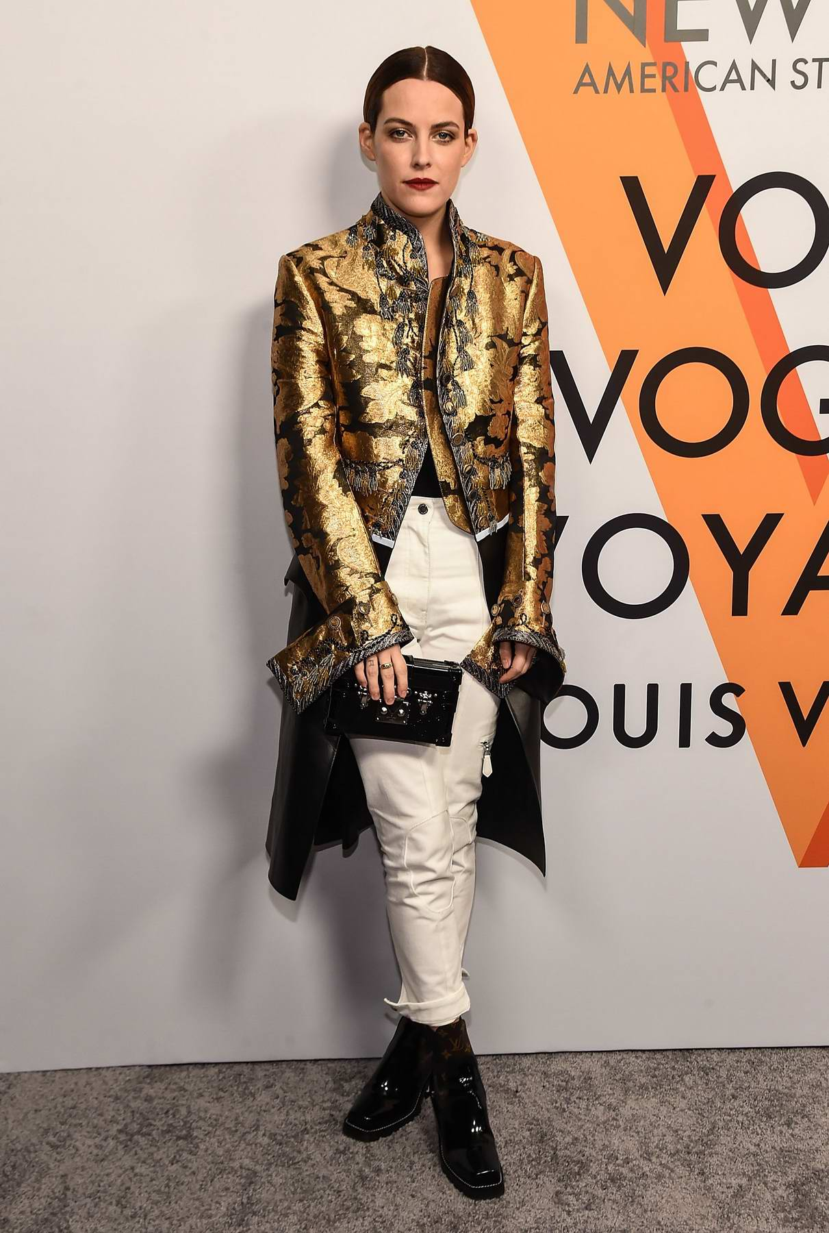 Riley Keough at Louis Vuitton 'Volez, Voguez, Voyagez' exhibition opening in New York