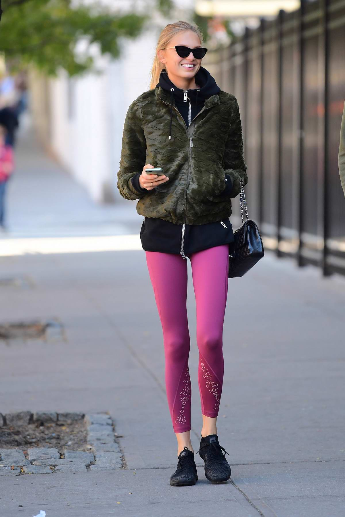 Romee Strijd In Pink Leggings Walks Out With Her Boyfriend
