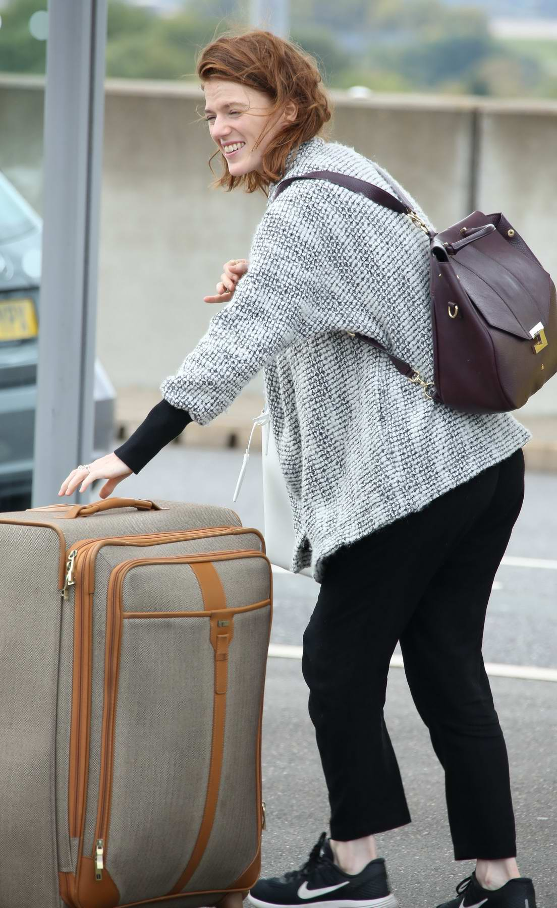 Rose Leslie arrives at Heathrow Airport in London