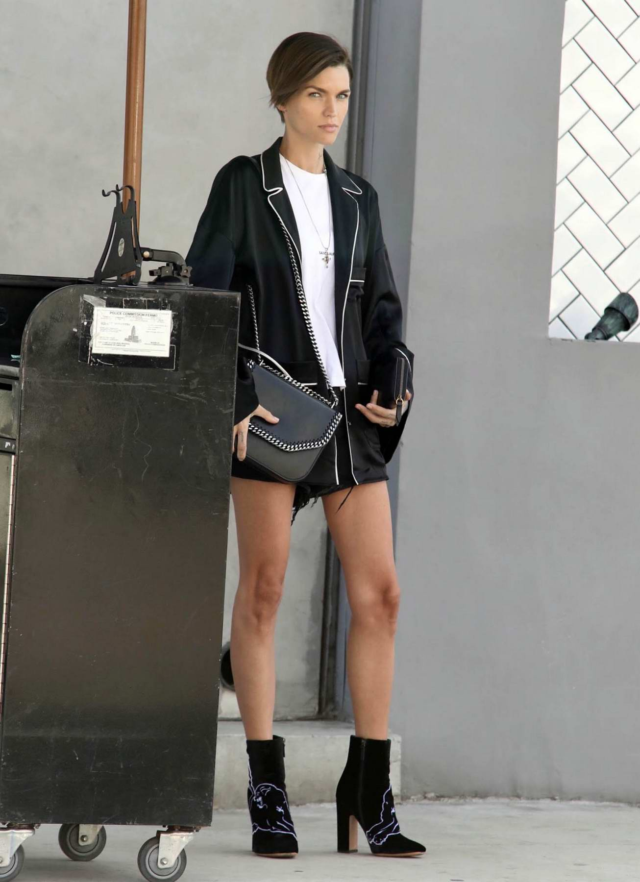 Ruby Rose waiting at a valet stand for her car in Hollywood, Los Angeles
