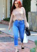 Rumer Willis dressed in a beige top and jeans while out and about in Los Angeles