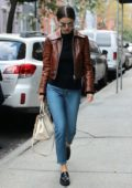 Selena Gomez in a leather jacket out in New York City