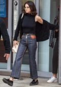 Selena Gomez out and about in a black top and jeans in New York City
