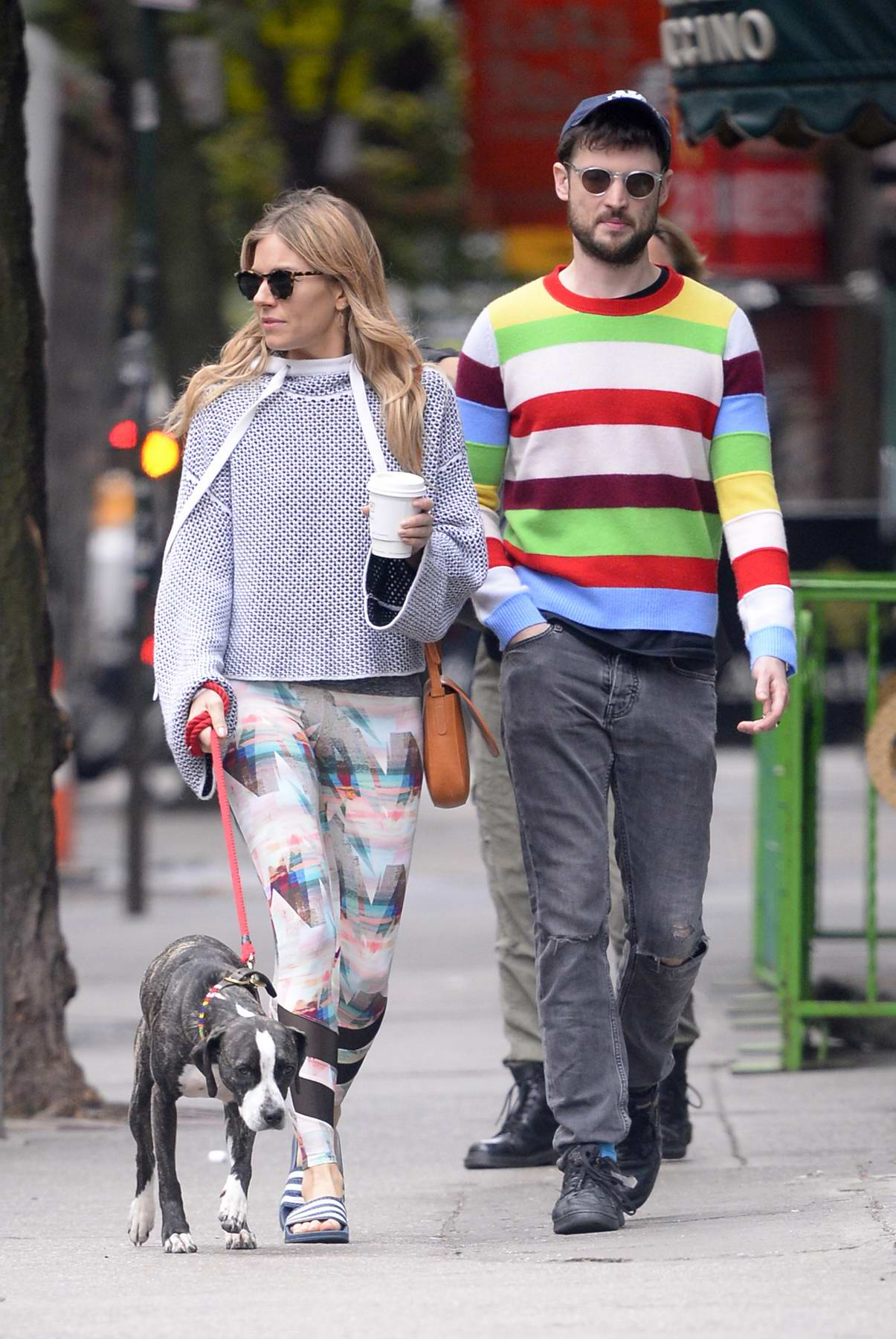 Sienna Miller and Ex Tom Sturridge walk their dog at the dog park in the West Village in New York City